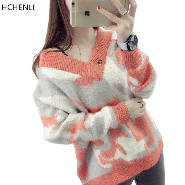 HCHENLI 2017 Autumn Winter Ladies Knitted Women MoHair Sweater Green Pink Orange Camouflage Sweaters V-Callor Pullovers Clothing