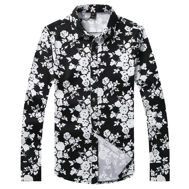 Casual Shirt for Men Black Floral Fashion Shirt Long Sleeve brand Printed Shirts Young Men Trendy Modern Look Male Fit Gent Life