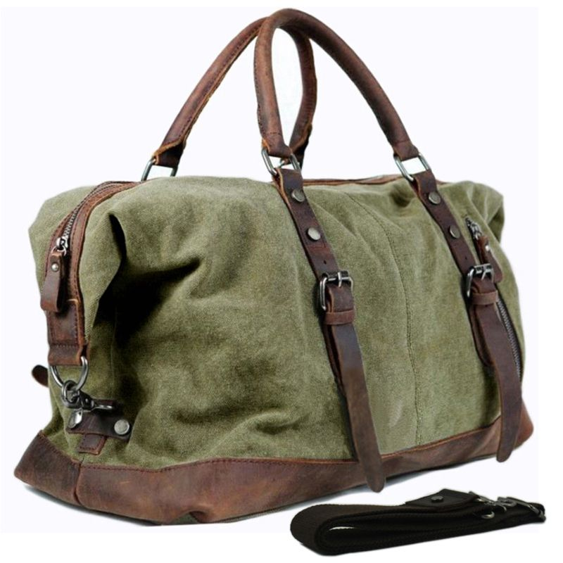 Military Canvas Leather Men's Travel Bag Hand Luggage Bag Carry On Large Men Leather Duffle Bag Tote Big Weekend Bag Overnight
