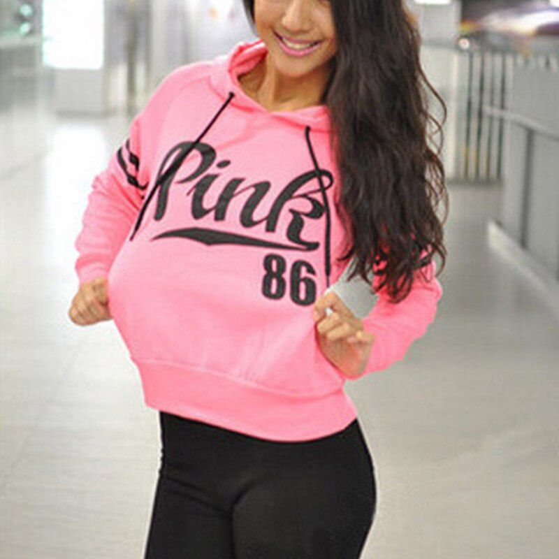 Women Hoodies Sweatshirt Long Sleeve Pink Letter Printed Casual Harajuku Pullovers Hoodies Sweat Shirt Sudaderas Mujer Hoody