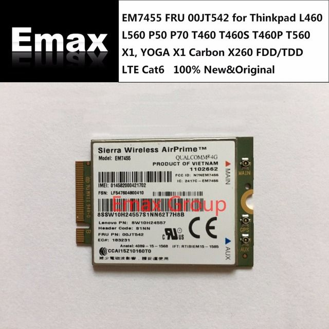 EM7455 FRU 00JT542 for Thinkpad L460 L560 P50 P70 T460 T460S T460P T560 X1, YOGA X1 Carbon X260  FDD/TDD LTE Cat6 stock