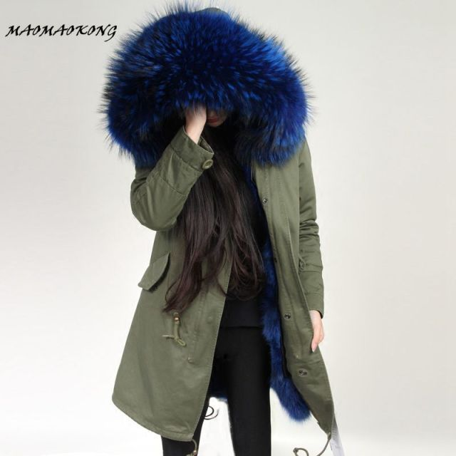 MAOMAOKONG Women Winter Coat Army Green Thick Parkas  Real Raccoon Fur Collar Hooded Fox Fur Lining Winter Jacket