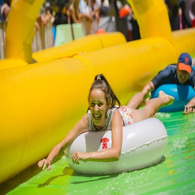 city water slide  large outdoor inflatable recreation 15 M long playing in summer water park relieve summer heat slide the city