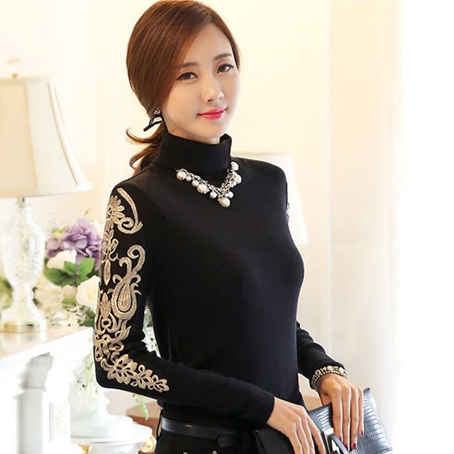 2016Winter warm fleece basic t shirt female cotton tee beaded turtleneck embroidery long sleeve elegant casual top plus sizeXXXL