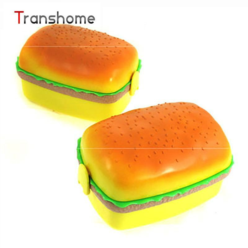 New Plastic Lovely Hamburger Shape Bento Meal Boxes Round Shape Meal Box 3 Layers Food Container With Fork