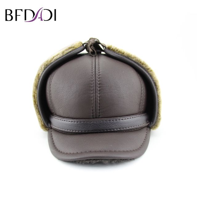 BFDADI 2018 Hat Winter Men Pilot Hat With Ear Flaps Mens Faux Fur Warm Fur Hat Cap Men's Winter Hats Ear Flaps Big Size 60CM