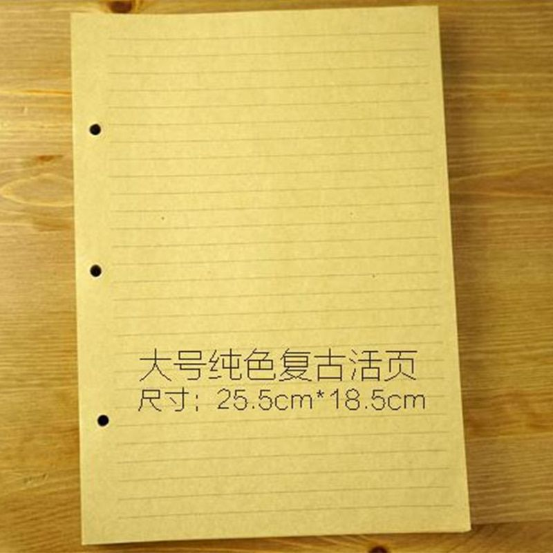 B5 style Filler papers for notebook inside page paper 3 holes on paper kraft quality 60 sheets blank and transerve line style