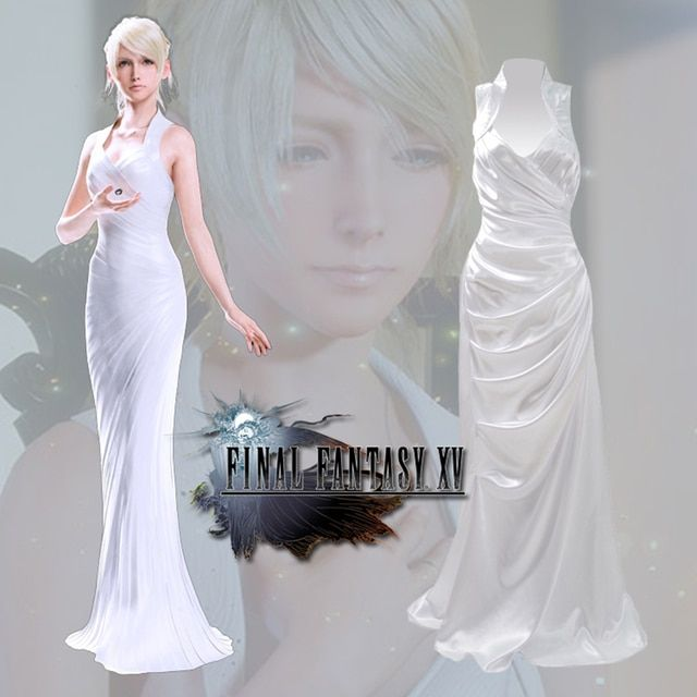 Final Fantasy XV Lunafreya Nox Fleuret Princess Evening Dress Game Cosplay Costume Woman Party Dress White Christmas Costume