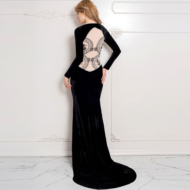J70214/J1021 Top selling black dress party evening elegant back see through lace long party dress two style noble elegant dress