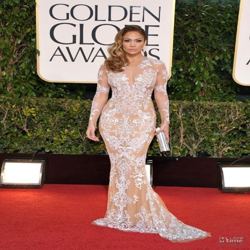 Fashion 2016 Embroidered Mermaid Celebrity Dresses 2017 Red Carpet Jennifer Lopez Sexy Lace Sheer Long Sleeve Vestido De Festa