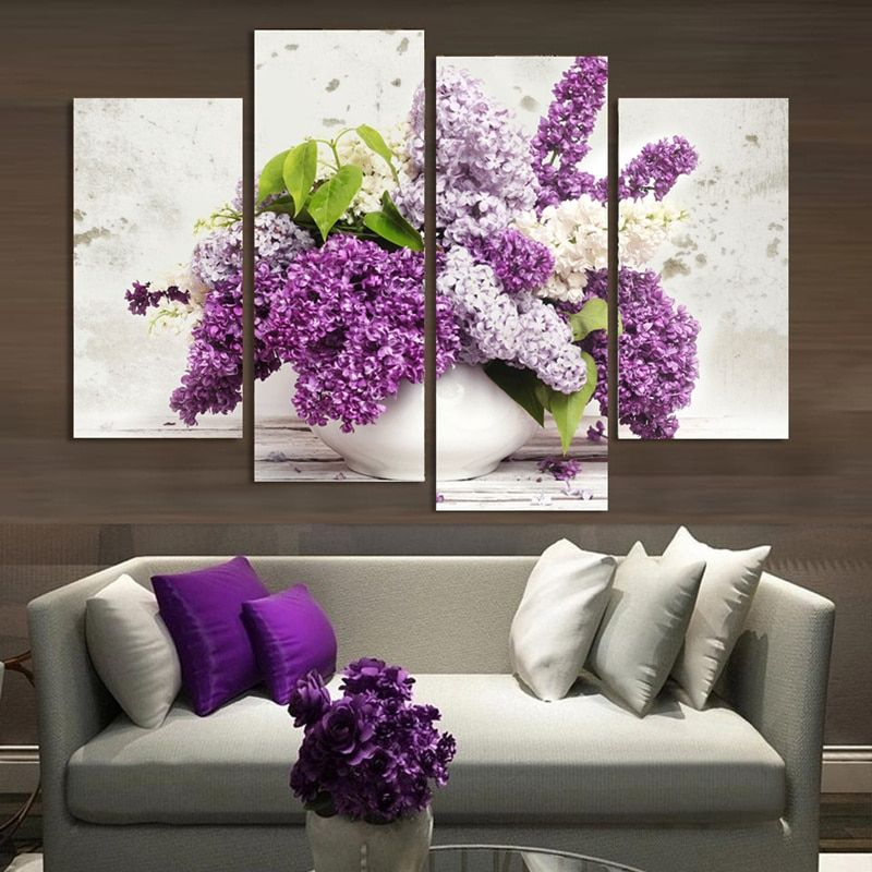 4 Panel Modern Lavender Flowers Canvas Painting on Canvas Wall Art Modular Pictures Home Decor for Living Room No Frame