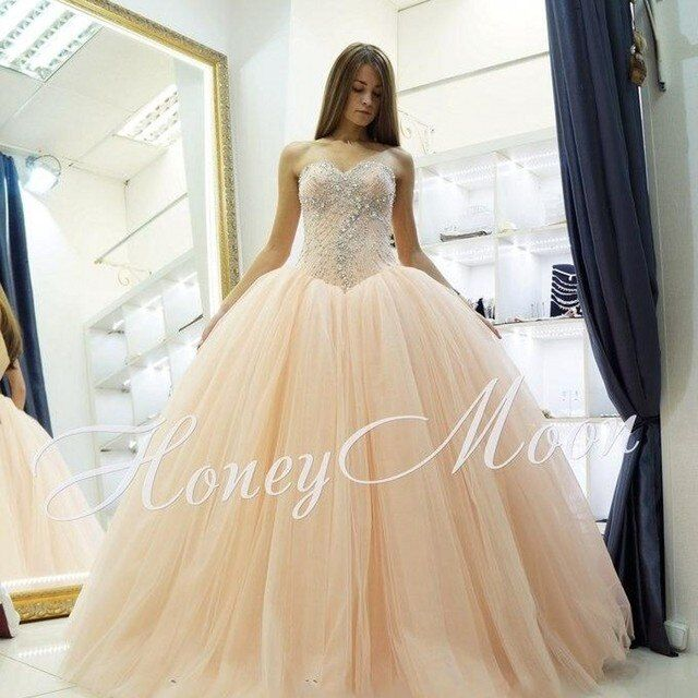 Peach Coral Quinceanera Dresses Tulle Beading Appliques Corset Debutante Dress 15 Years Party Quinceanera Gowns vestido renda