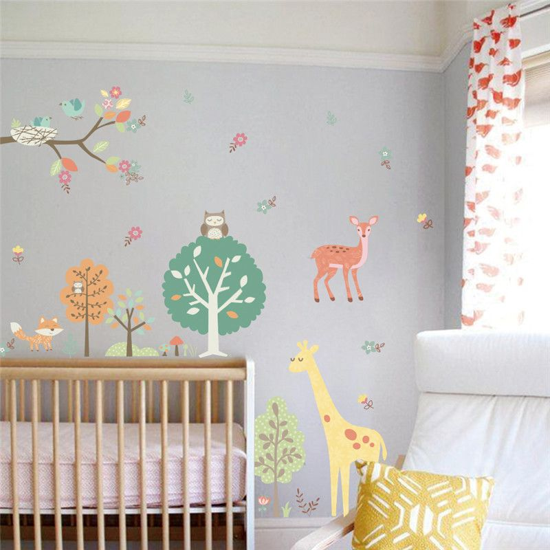 Forest Animals Owls Giraffe Tree wall stickers for kids room Children Wall Decal Nursery Living Room Bedroom Decor Poster Mural