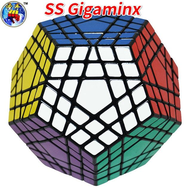 Shengshou Gigaminx Magic Cube Black Base with PVC Stickers Professional Magic Cube Learning Educational Toys