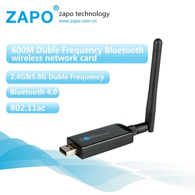 ZAPO 5G WIFI USB Bluetooth 4.0 600Mbps Adapter Wireless 802.11ac/n Network Card High Gain Antenna For All Windows Linux Systems