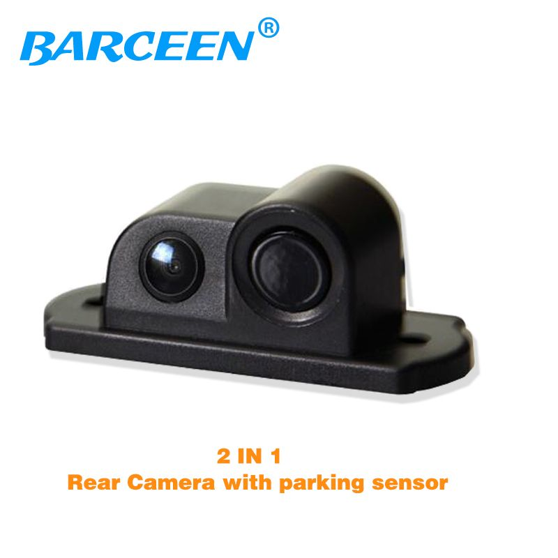 New 2 in 1 LED Sound Alarm Car Reverse Backup Video Parking Sensor Radar System with CCD Rear View Parking Camera