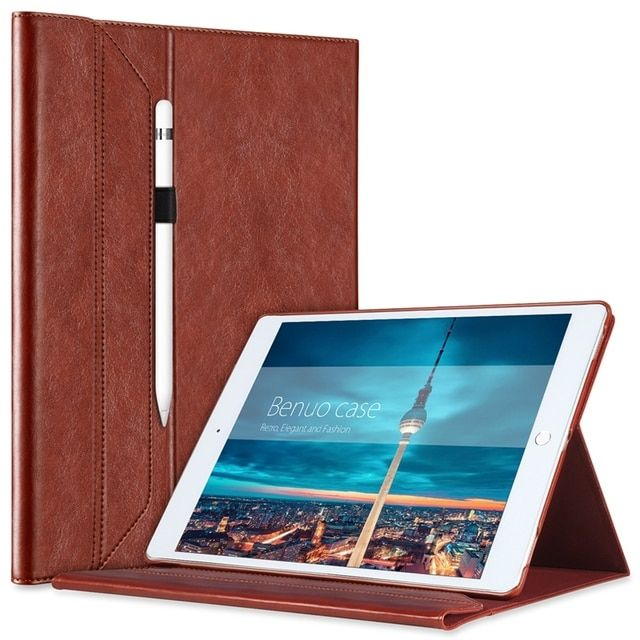 Benuo Portfolio Case For iPad Pro 12.9 Cover Brief Leather Case With Pencil Holder For Apple Pencil Invisible Stand Wake Case
