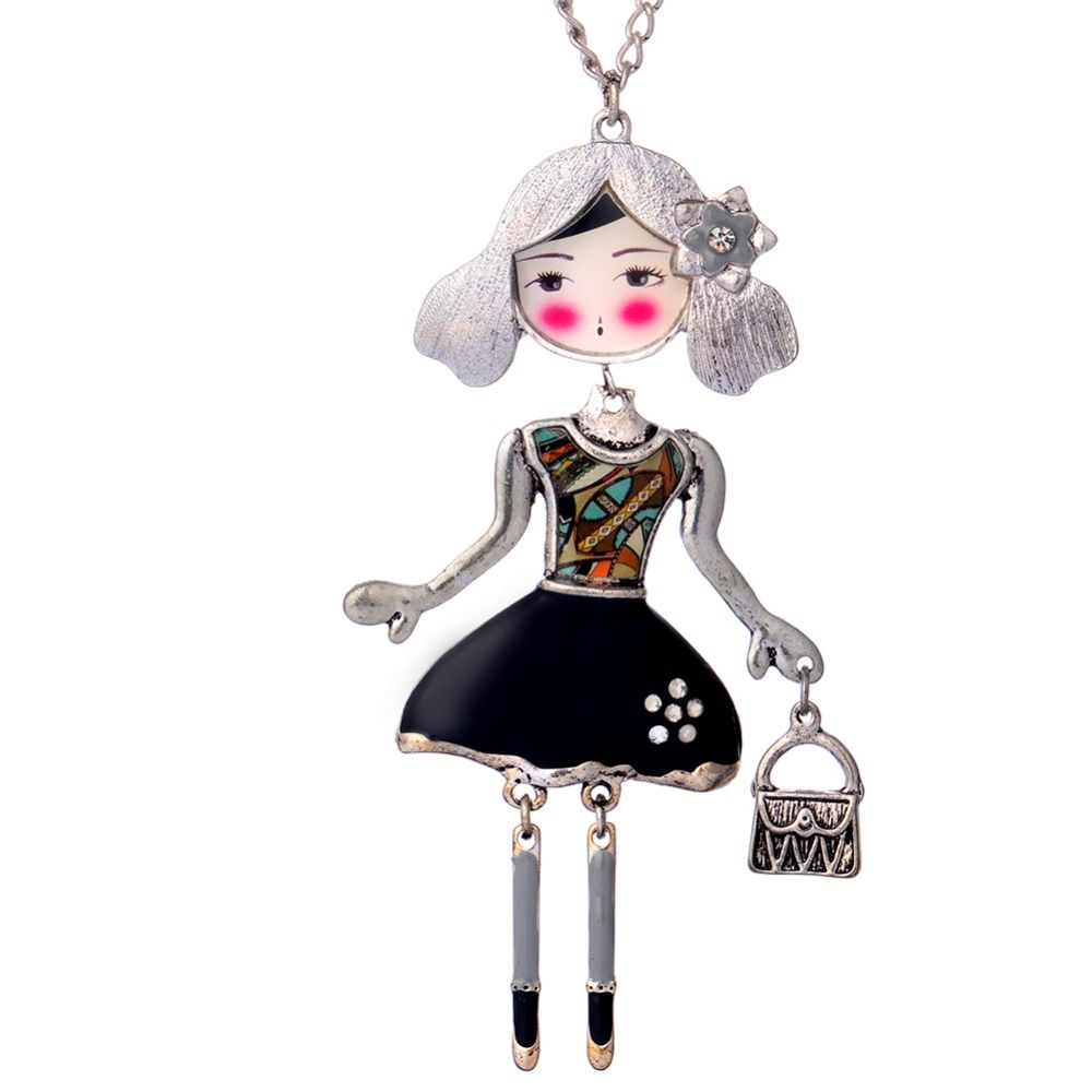 D & Rui Jewelry Colorful Doll Necklace Long Chain Pendant Enamel Necklace Women Jewelry