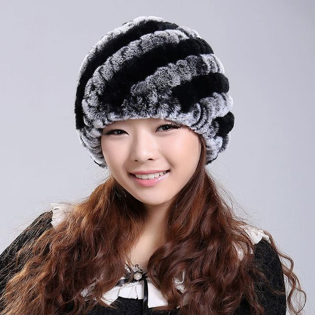 2017 Handmade Newest Women's Fashion Real Knitted Rex Rabbit Fur Hats Lady Winter Warm Charm Beanies Caps Female Headgear VK0318