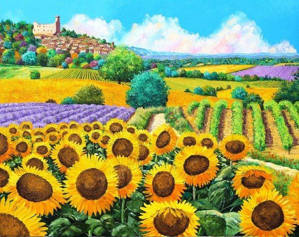Vineyard and sunflower Scenery Embroidery Needlework 14CT Counted Unprinted DMC DIY Cross Stitch Kits Handmade Arts Wall Decor
