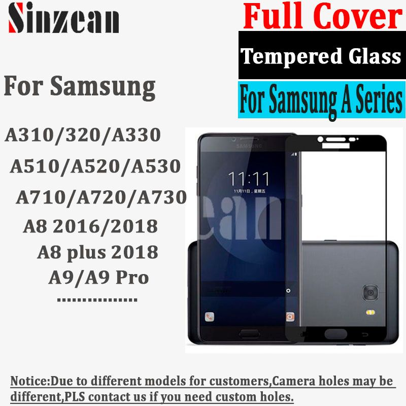 50pcs For samsung A8 Plus/A6 2018 A510/A710/A320/A520/A720/A530/A730 full cover tempered glass screen protector 2.5D (Edge Glue)