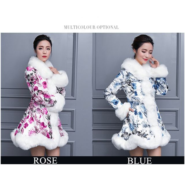 winter women warm imitation fox fur coat sheepskin printed blue and rose colour slim PU leather large size fur collar coat
