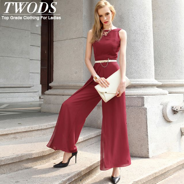 Twods S- XXXL Crepe Chiffon Long Wide Leg Pants Jumpsuit 2016 New Fashion Summer Rompers Keyhole O-neck Sleeveless
