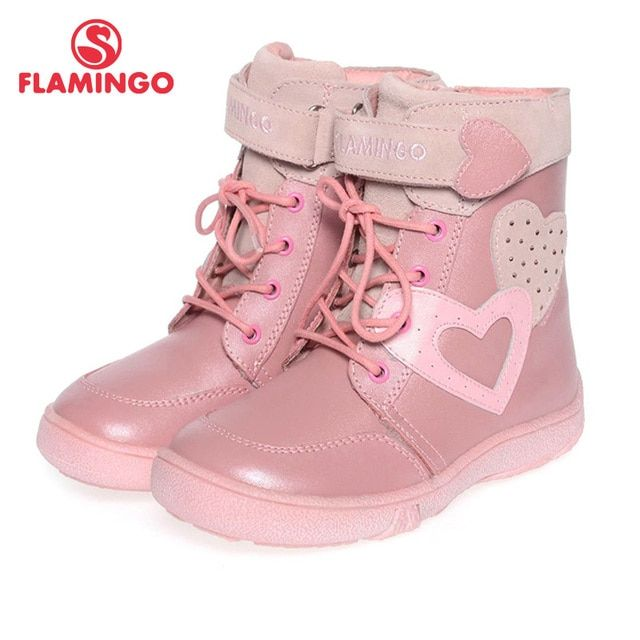 FLAMINGO quality fashion winter leather children's shoes for girl 2015 new collection anti-slip boots with natural wool SC3426