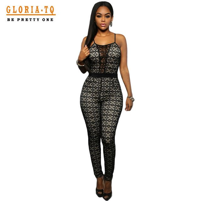 2016 Combinaison Femme Summer Black Lace Sexy Rompers Womens Jumpsuit Long Bodycon Spaghetti Strap Overalls For Women 64038
