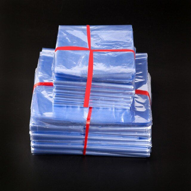 12*18cm Clear PVC Heat Shrink Bag Storage Film Heat Seal Shrinkable Polybag Retail Plastic Gift Cosmetic Packaging Pouch