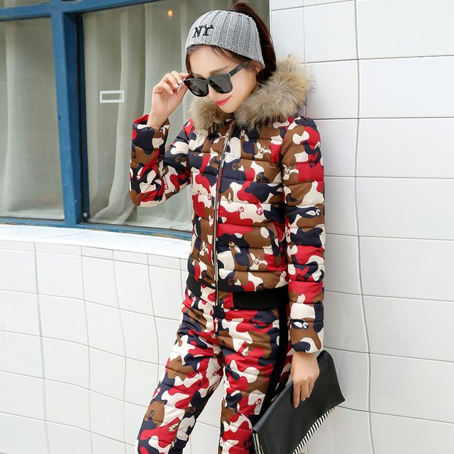 Women Winter Short Design Fur Coat Twinset Camouflage Wadded Jacket Cotton-Padded Jacket Down Trousers Warm Clothing Set