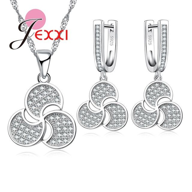 JEXXI Fashion Women 925 Sterling Silver Necklace Earrings Jewelry Sets For Wedding Engagement Accessory Cubic Zircon Crystal Set