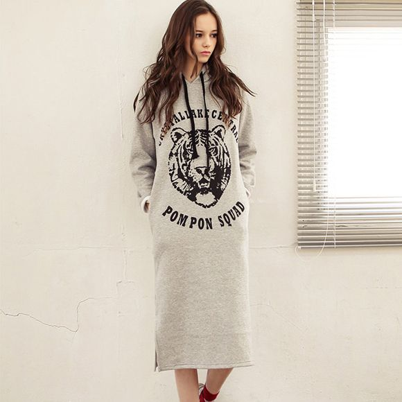 2016 Autumn Winter Long Hoodie Dress Gray Fleece Thicken Tiger Sweatshirt Women Pullover Casual with Hood Sudaderas Mujer