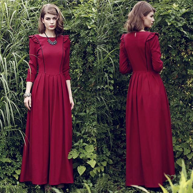 Vestido brand Quality New Fashion 2016 Designer Vintage spring Maxi Dress Women Long autumn winter dress