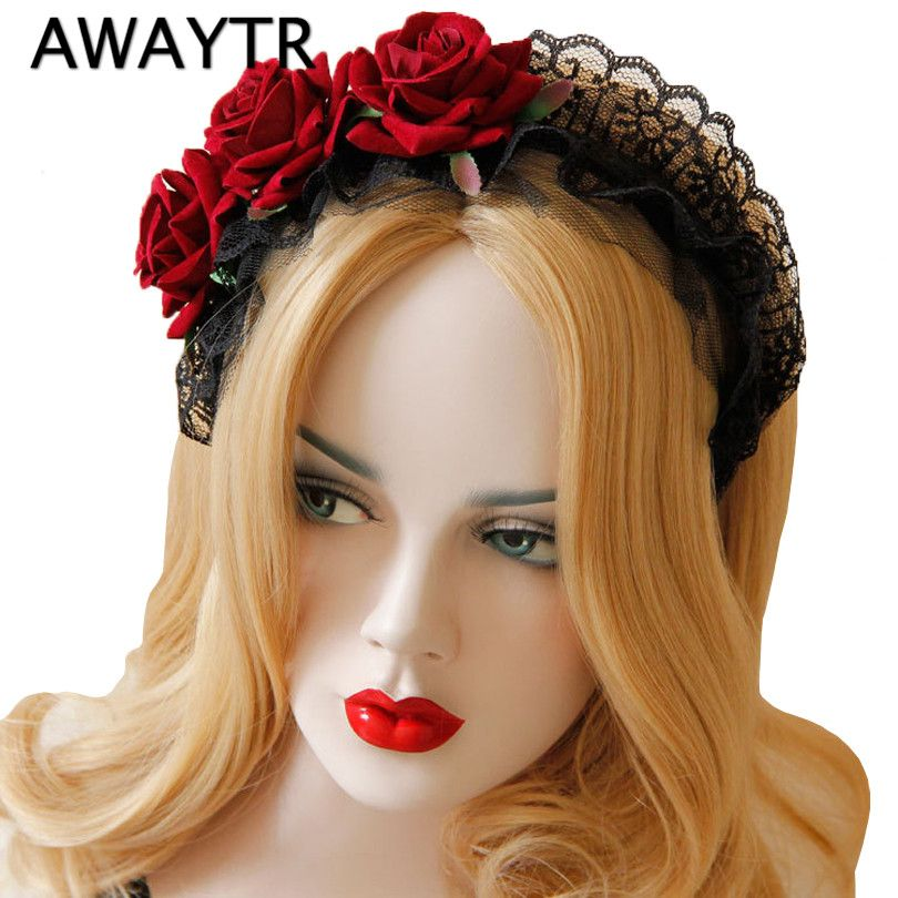 AWAYTR Handmade Rose Flower Headband Lace Headdress Flower Head Elegant Hair Ornaments for Party Photography Hair Accessories