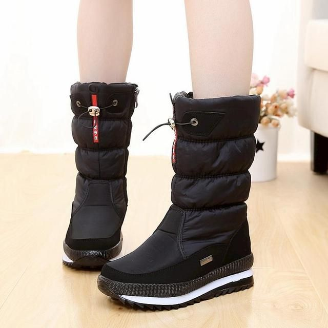 New 2018 women's boots platform winter shoes thick plush non-slip waterproof snow boots for women botas mujer