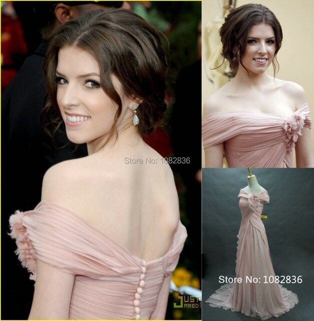 Wholesale Price Real Pictures Oscar Red Carpet Evening Dress Fashion Classical Off Shoulder Front Pink Chiffon Celebrity Dress