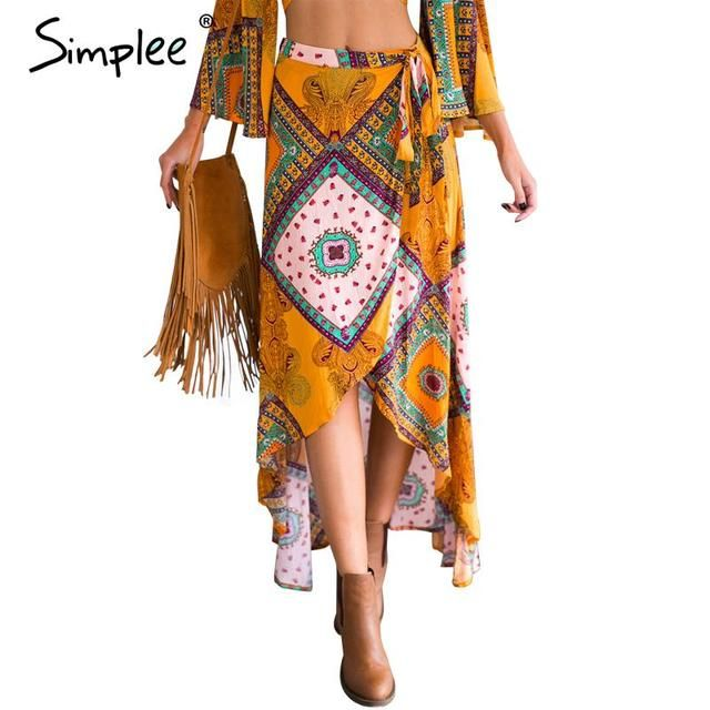 Simplee Boho print bow asymmetrical women skirt long Summer style beach maxi skirt Vintage cotton loose flare skirts new