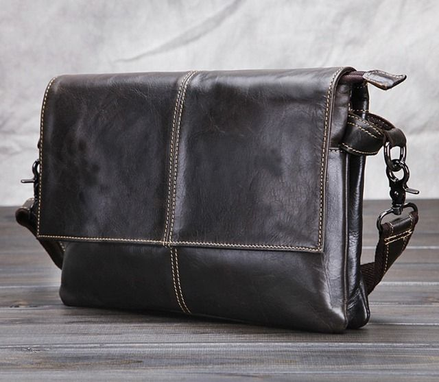 Men Genuine Leather First Layer Cowhide Cross Body Messenger Shoulder Business Luxury Bag