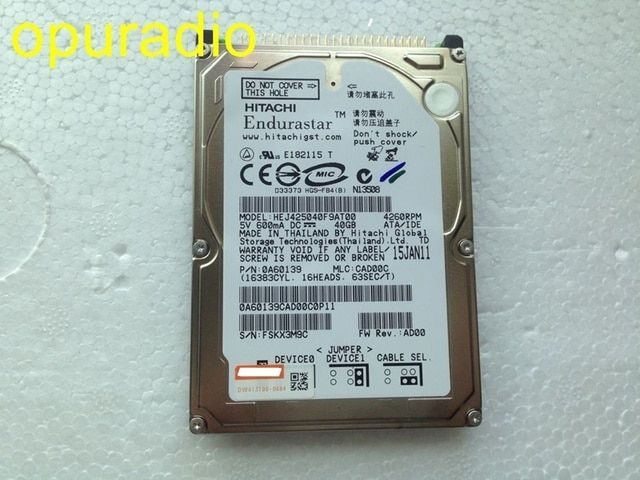 riginal 2.5inch Hard disk drive HEJ425040F9AT00 40GB for car DVD navigation audio systems 150pcs/lot