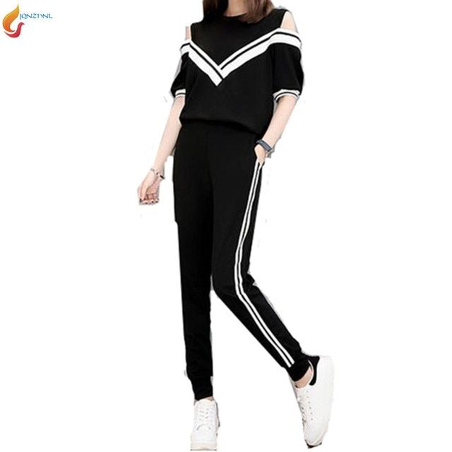 Europe new Slim temperament sporting Pants sets 2017 spring casual fashion new sporting suit summer female 2pcs suit G97 JQNZHNL