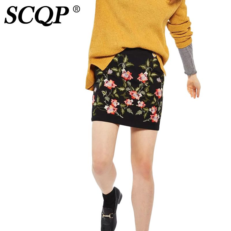 SCQP Embroidery Floral Black Mini Skirt Zipper Cotton Sexy Ethnic Ladies Skirt High Waist Fashion Office Casual Skirts Womens