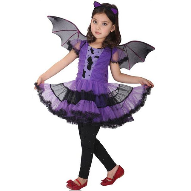 Bat Girl Costume With wings Children Cosplay Christmas New Year Dance Dress cape Costumes for Kids Purim Halloween Children'Day