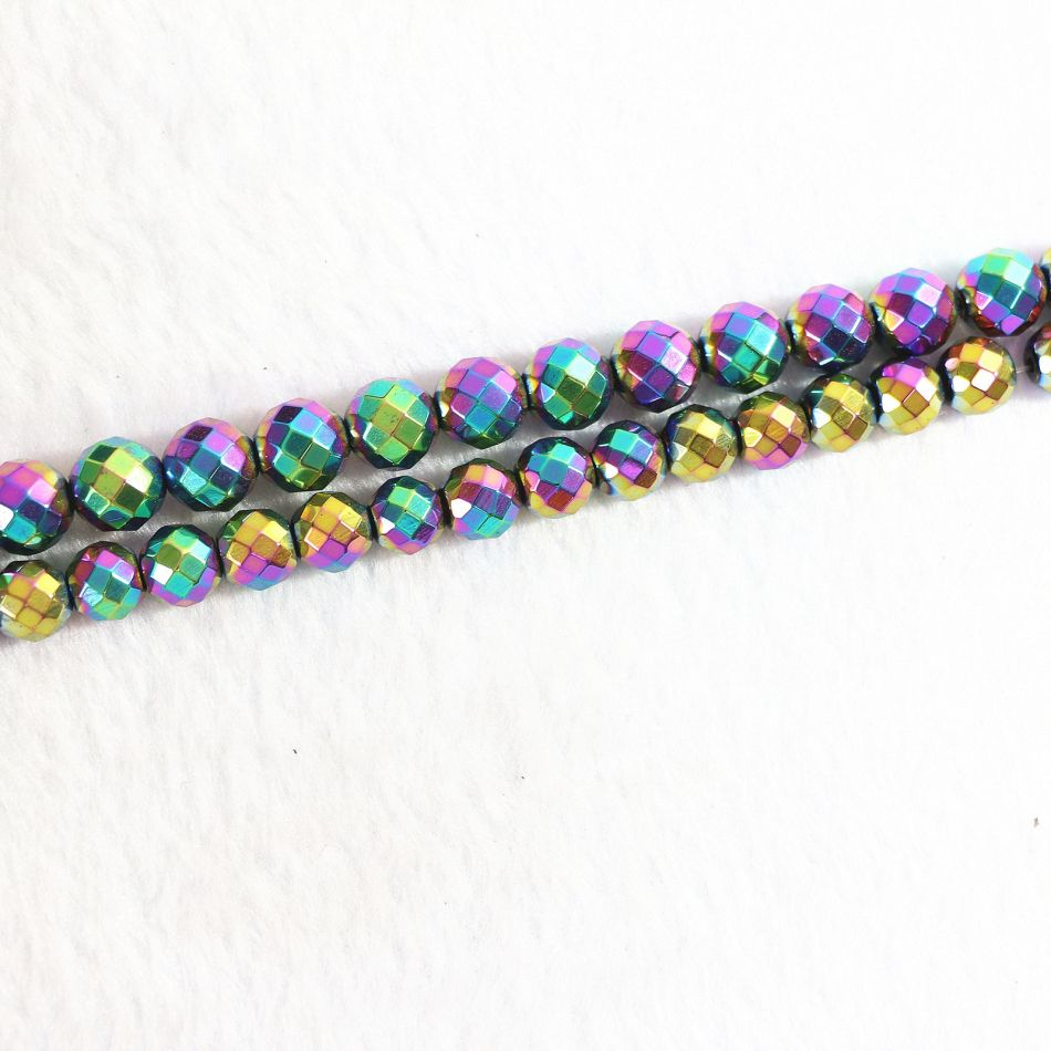 HOT Multicolored Hematite stone 4mm 6mm 8mm 10mm 12mm Round faceted beads loose Beads 15 inches B190