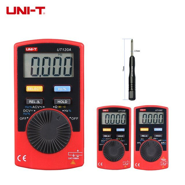 UNI-T Digital Multimeter UT120C UT120B UT120A Mini Pocket Auto Range AC/DC Voltage Current Resistance Capacitance Frequency Test