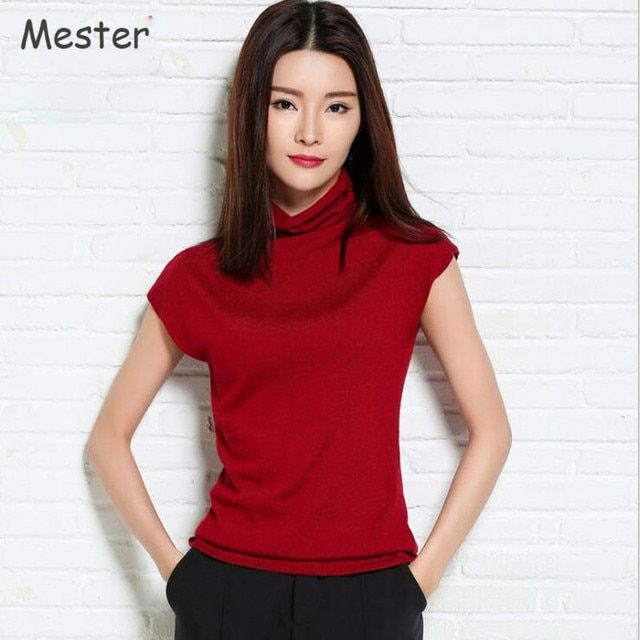2017 Women Summer Knitwear Turtleneck Short Sleeve Sweater Ladies Elegant Thin Pullover Knitted T-shirt Tops Solid Colors S-XXL