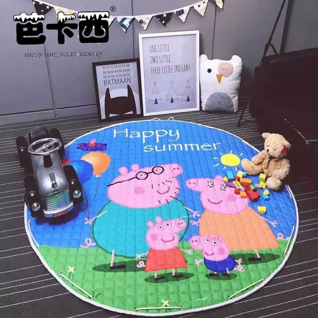 150cm baby play mat round cotton baby kids play gym toy storage mats children game pad picnic mats