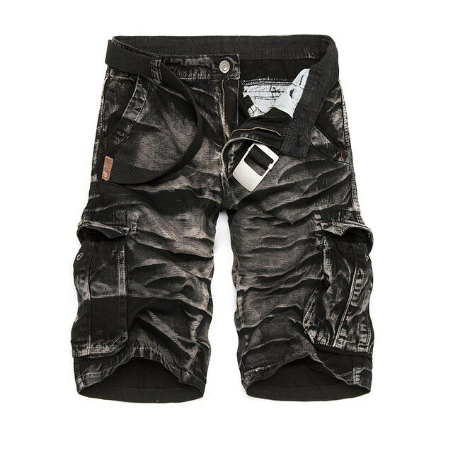 Wave Special Offer Bermuda Masculina Mens Cargo 2018 New Black Camouflage Shorts Men Cotton Work Casual Shorts Plus Size No Belt