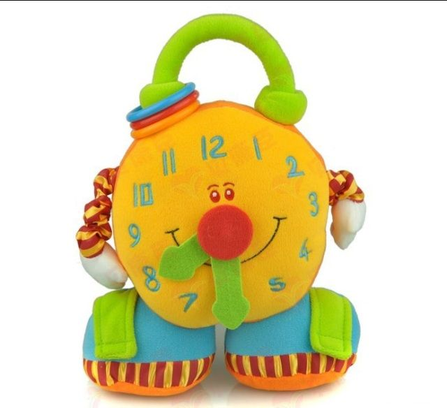 New Baby Toy multi-function Alarm clock Rattle with Ring Bell Cute Cartoon Big Alarm clock Plush Doll Early Educational