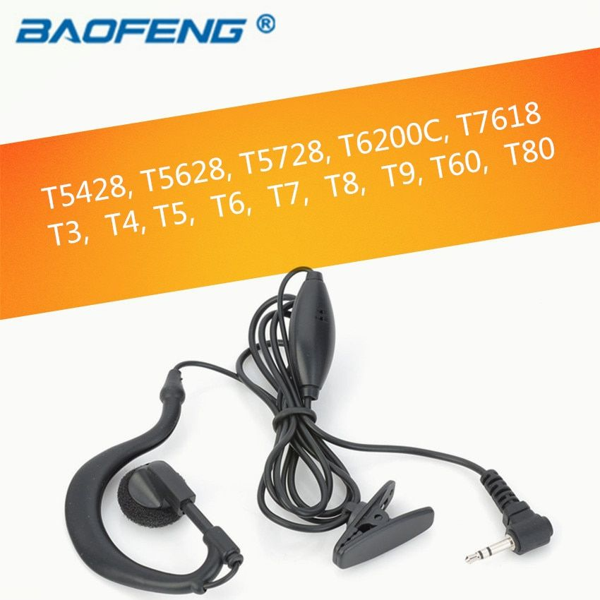 earpiece headset with PTT and Microphone for 1 PIN 2.5MM Motorola Two-Way Radio T6200C T5800 T7200 T5720